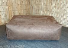 Zippy Washable Faux Suede Beanbag Footstool Bean Bag Cube Foot Stool With Beans