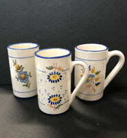 Lot 3!Vintage Espana Ceramic Country Rustic Hand Painted Coffee Cups/ Mugs Blue