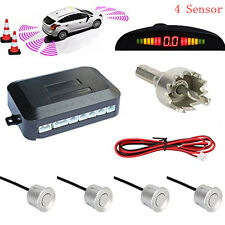 Car Reverse Backup Radar Detection LED Display 4 Reversing Parking Sensor Silver