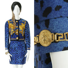 GIANNI VERSACE Vintage gold baroque Medusa button leopard print top skirt set M