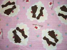 FQ HOLLY HOBBIE LOVE HEARTS VALENTINES CHILDREN SILHOUETTES GINGHAM FABRIC