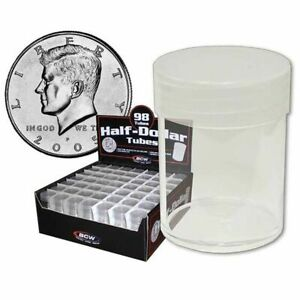 BCW Round Clear Plastic Half Dollar Coin Tubes - Display Box of 98