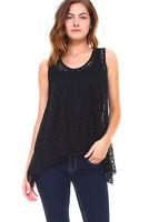 New Women's Black Sleeveless Lace Flare Handkerchief Swing Tunic Tank Top S-XL