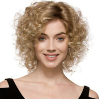 Women Cosplay Wigs Curly Wavy Short Blonde Brown Hair Wigs Costume Party Wigs x