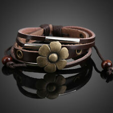 Coffee Color Flower Pendant Girl Lady Braid Bracelet String Band Bangle