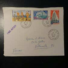 POLYNESIA FRENCH LETTER COVER 1967 PAPEETE R.P. ISLAND TAHITI FOR VILLEMOMBLE