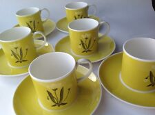 6 Susie Cooper Coffee Cans & Saucers Orchids Pattern Yellow Cups PRE-WEDGEWOOD