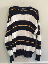 Nautica blue white yellow striped sweater men's winter shirt top size large