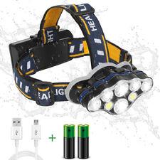 8 LED Rechargeable Headlamp Flashlight 8 Modes Adjustable Headband Fishing