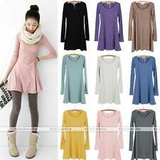 Fashion Women Soft Solid Colour Long Sleeve Casual Sweet Mini Jumper Dress