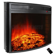 "28"" Black Electric Firebox Fireplace Heater Insert Curve Glass Panel W/ Remote"