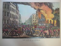 Vintage Currier & Ives America Color Print, The Life Of A Fireman-The Ruins