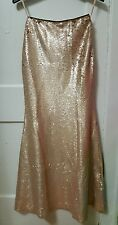 Women's Lucy Paris Gold Strapless Sequins Long Party Dress Formal Size XS NWT