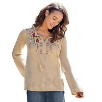 New Sahalie Size Medium Beige Floral Embroidery Tassel Tie Neck Sweater Rose