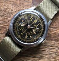 Chronograph Suisse  Armbanduhr  Gilt Dial  Military Style  Landeron 47