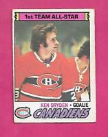 1977-78 OPC # 100 CANADIENS KEN DRYDEN  ALL STAR VG+  CARD  (INV# D1807)