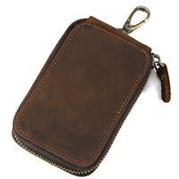 Men's Unisex Leather Belt Key Holder Case Credit Card Bag Wallet Zip Aound Brown