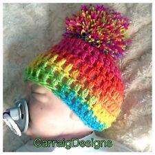 HANDMADE hat beanie Newborn 0-3 months baby girl pompom crochet hippie photoprop