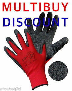 60 PAIRS NYLON LATEX RUBBER COATED PALM SAFETY GRIP WORK GLOVES BUILDERS GARDEN
