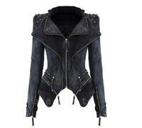 Women Rock Punk Rivet Studded Denim Motorcycle Moto Jean Slim Jacket Coat Blazer