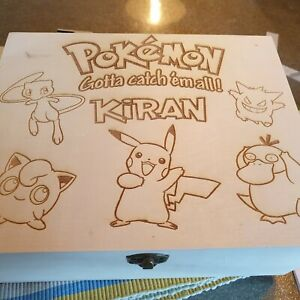 Personalized Pokemon collection wooden Storage Box   any name added
