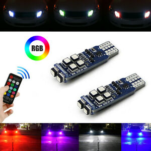 Multi-Color RGB 168 194 T10 LED Bulbs w/RF Remote Control For Car Parking Lights