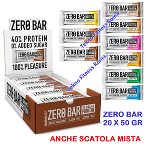 Biotech Zero Bar 20 Barrette Proteiche da 50 gr Senza Carboidrati con Proteine