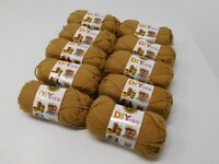 New LION brand Acrylic Camel Yarn #4 Medium Lot Of 10 Small Skeins 650 Yards