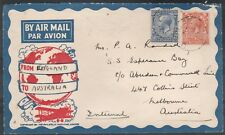 1934 AIR MAIL 41/2d RATE ON PRINTED COVER ENGLAND TO AUSTRALIA PHILATELIC MAG