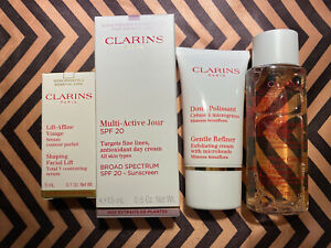 Clarins Travel Set Multi-active Jour,shaping Lift,gentle Refiner,cleansing Water