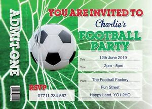 FOOTBALL TICKET PERSONALISED BIRTHDAY PARTY INVITES Pack of 10 Invitations