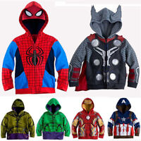 Kids Boys Superhero Jacket Hooded Hoodie Coat Jumper Sweater Sweatshirts Outwear