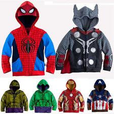 Kids Boys Marvel Superhero Costume Hooded Sweatshirt Zip Jacket Coat Top Outwear