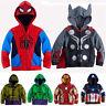 Kids Boys Superhero Spiderman Hooded Jacket Coat Hoodies Sweatshirt Tops Outwear