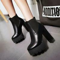 Womens Chunky  High Heels Platform Round Toe pull on Ankle Boots High Top Shoes