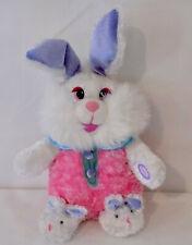 "Large Stuffed Plush Bunny Rabbit 14"" Plays Music Wiggles Ears Easter Bunny"