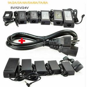 Power Supply Adapter Transformer LED Strip 1A 3A 5A 8A DC 5V 12V 24V AC110 220V