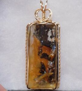 Russia ~ 96ct ~ DENDRITIC AGATE PENDANT ~ Hand Crafted ~ 14kt GF
