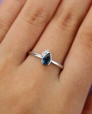 1ct Pear Cut Blue Sapphire Bezel Set Cute Engagement Ring 14k White Gold Finish