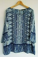Rose & Olive Women's 2X NWT Blue White 3/4 Sleeve Polyester Tunic Top