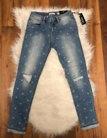 New Miss Me Women's At Attention Mid-Rise Ankle Skinny Denim Jeans Size 25 blue