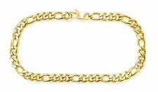 "14KT GOLD PLATED ANKLET FOOT BRACELET FIGARO CHAIN 10"" X 10MM - TOBILLERA"