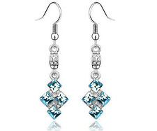 Genuine Womens Blue Swarovski Elements Rhinestone Earrings Jewellery fashion
