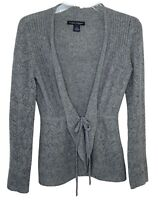 Elena Solano small 100% cashmere sweater cardigan light gray tie front crochet