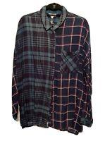 Umgee Women's Shirt Top Tunic Contrast Plaids Oversize Button Down Soft NEW SZ S