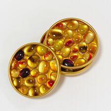 Vintage Retro Gold Resin Lucite Mosaic Pebbles Stones Coasters Set Mod 1960s
