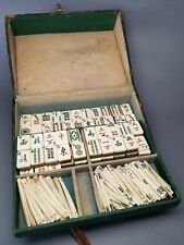 Antique Heavenly Twins Visiting Case Bone & Bamboo Mah Jong Game Set Tiles Vtg