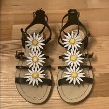 Kate Spade New York size 6.5 Collin Daisy Flower Black Leather Sandals