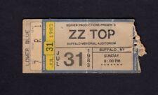 Original 1983 Zz Top Sammy Hagar concert ticket stub Buffalo Ny Eliminator Tour