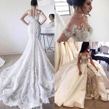 Trendy Lace Arabic Sheer Overskirt Wedding Dress Bride Bridal Ball Gown Custom
